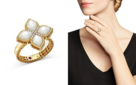 Roberto Coin 18K Yellow Gold Venetian Princess Mother-Of-Pearl & Diamond Ring - Bloomingdale's_2
